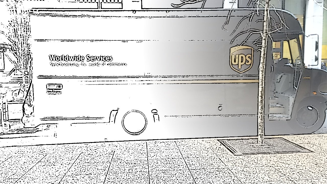 UPS Truck captured using Spotliter's SKETCH touch effect