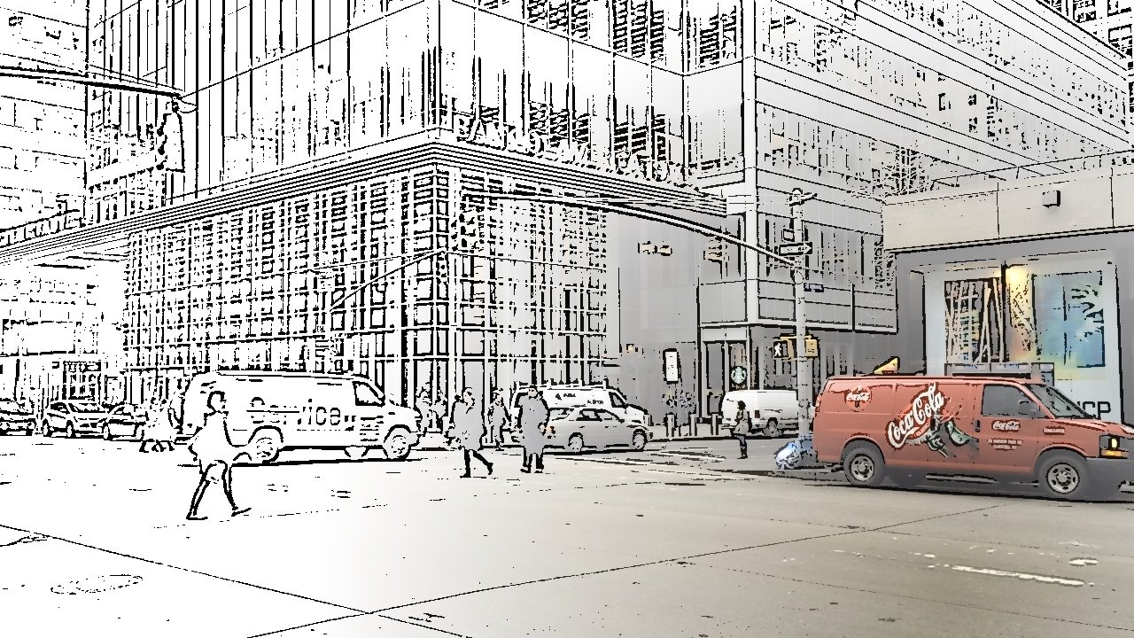 Coca Cola in the city, NYC - captured using Spotliter's SKETCH touch effect
