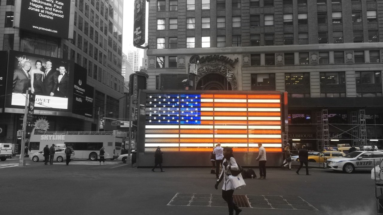 Stars and Stripes in Times Sq.